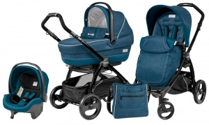 Коляска 3 в 1 Peg-Perego Book Plus Set Modular Pop-Up (шасси Black) Saxony Blue