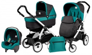 Коляска 3 в 1 Peg-Perego Book Plus 51 Set Modular Pop Up (шасси White) Aquamarine