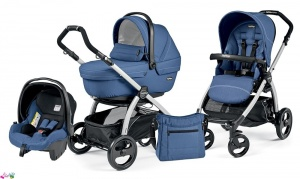 Коляска 3 в 1 Peg-Perego Book Plus Set Modular Sportivo (шасси Silver) Mod Bluette