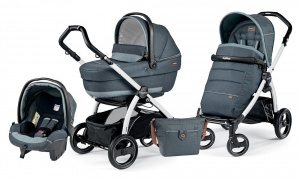 Детская коляска 3 в 1 Peg-Perego Book Plus S Pop-Up Set Modular (шасси White) Blue Denim