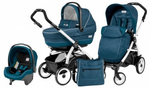 Коляска 3 в 1 Peg-Perego Book Plus 51 Set Modular Pop Up (шасси White) Saxony Blue