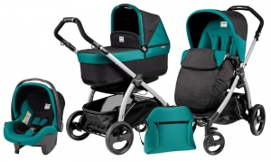 Коляска 3 в 1 Peg-Perego Book Plus Set Modular Pop-Up (шасси Silver) Aquamarine