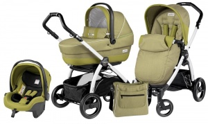 Детская коляска 3 в 1 Peg-Perego Book Plus S Pop-Up Set Modular (шасси White) Green Tea