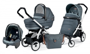 Коляска 3 в 1 Peg-Perego Book Plus 51 Set Modular Pop Up (шасси White) Blue Denim