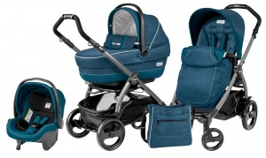 Коляска 3 в 1 Peg-Perego Book Plus 51 Pop Up Set Modular (шасси Jet) Saxony Blue