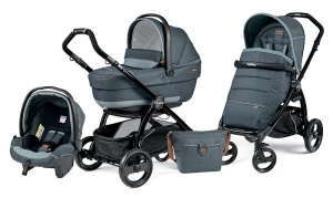 Коляска 3 в 1 Peg-Perego Book Plus Set Modular Pop-Up (шасси Black) Blue Denim