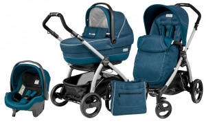 Коляска 3 в 1 Peg-Perego Book Plus Set Modular Pop-Up (шасси Silver) Saxony Blue
