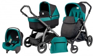 Коляска 3 в 1 Peg-Perego Book Plus S Set Modular Pop Up (шасси Jet) Aquamarine